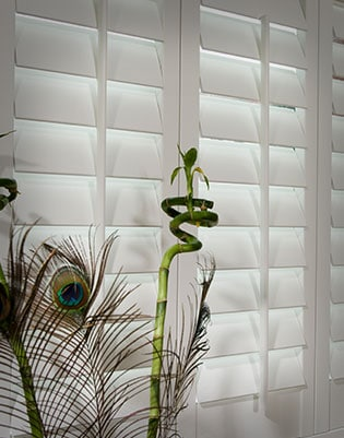 Plantation shutters in white