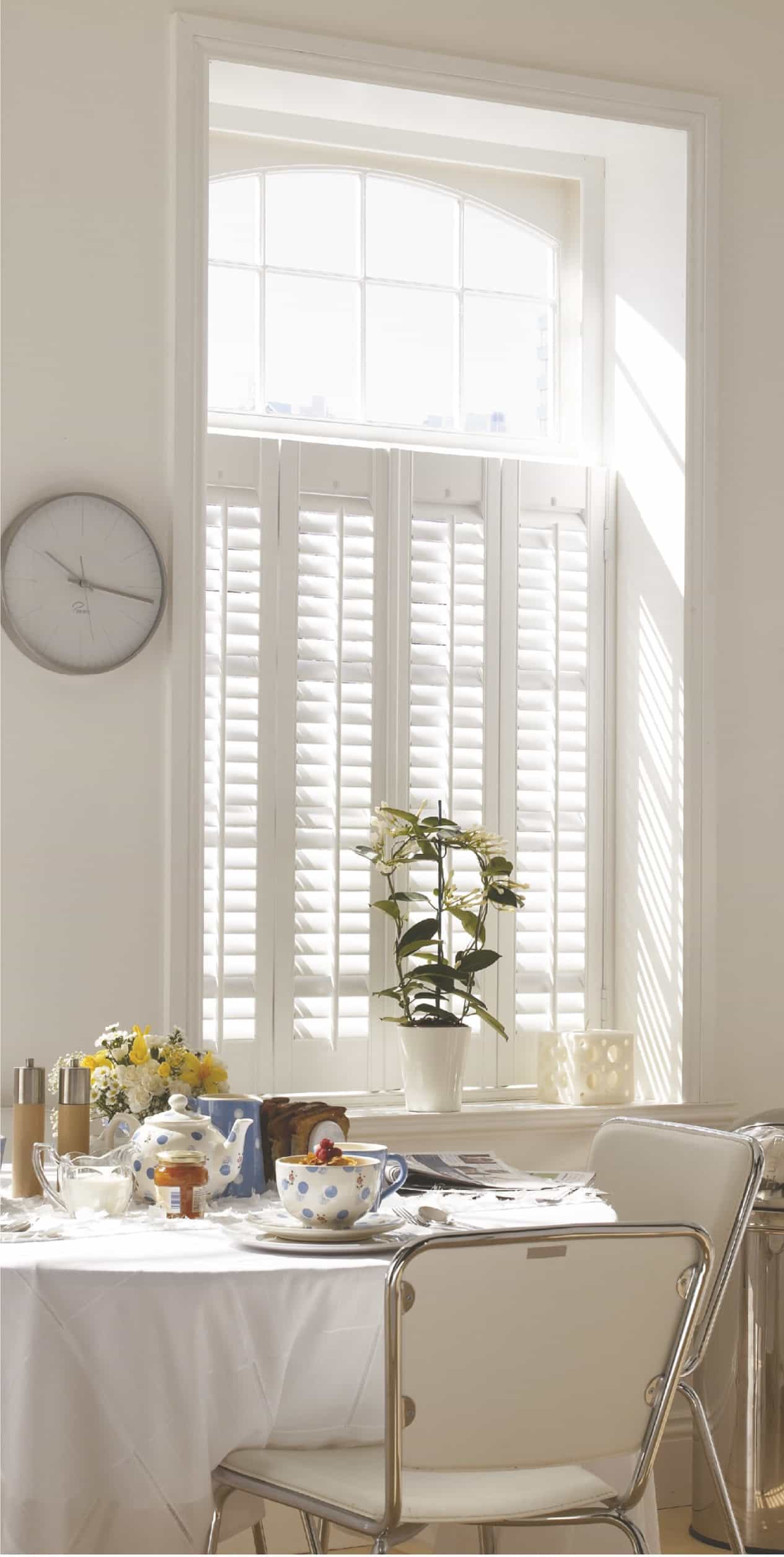 white shutter blind on window in Whitley Bay