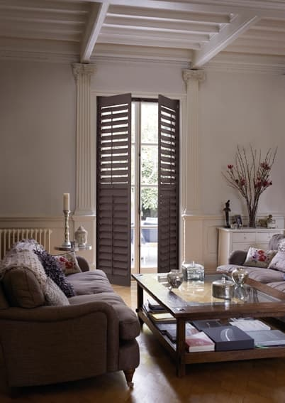 plantation shutters in Gateshead fitted on a large wooden window