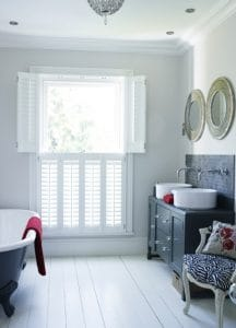 plantation shutters fitted on a large bathroom window in Gosforth