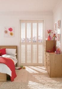 plantation shutters fitted on a large bedroom window in Tyne and Wear
