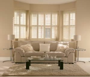 plantation shutters whitley bay on large window view