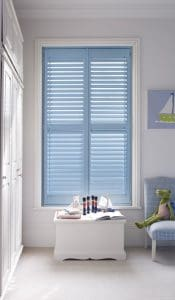 blinds and plantation shutters fitted on a medium size window