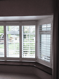 White no tilt rod plantation shutters in Whitley Bay