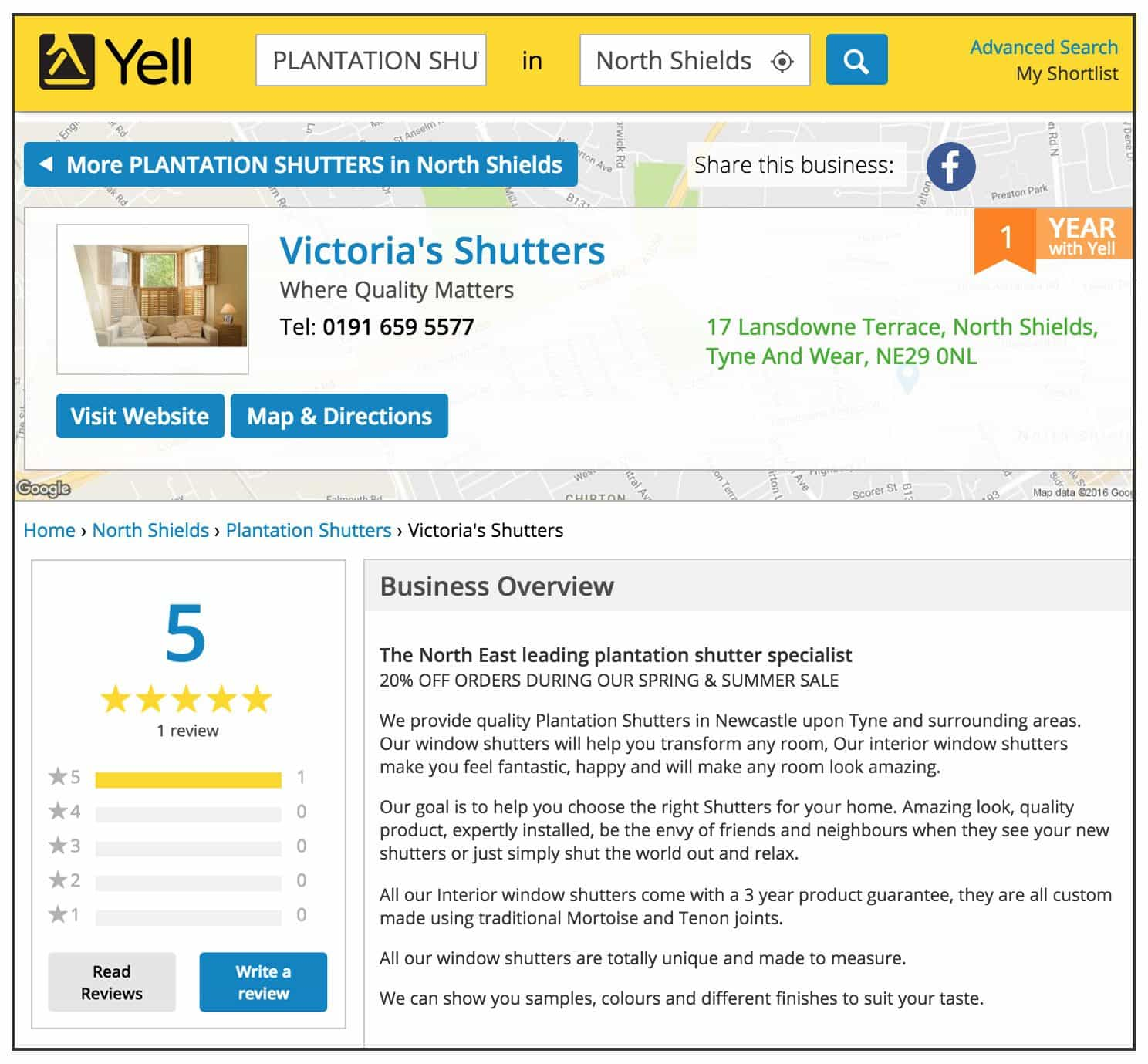 All window treatments reviews for the best shutter company on Yell pages of Victorias Shutters