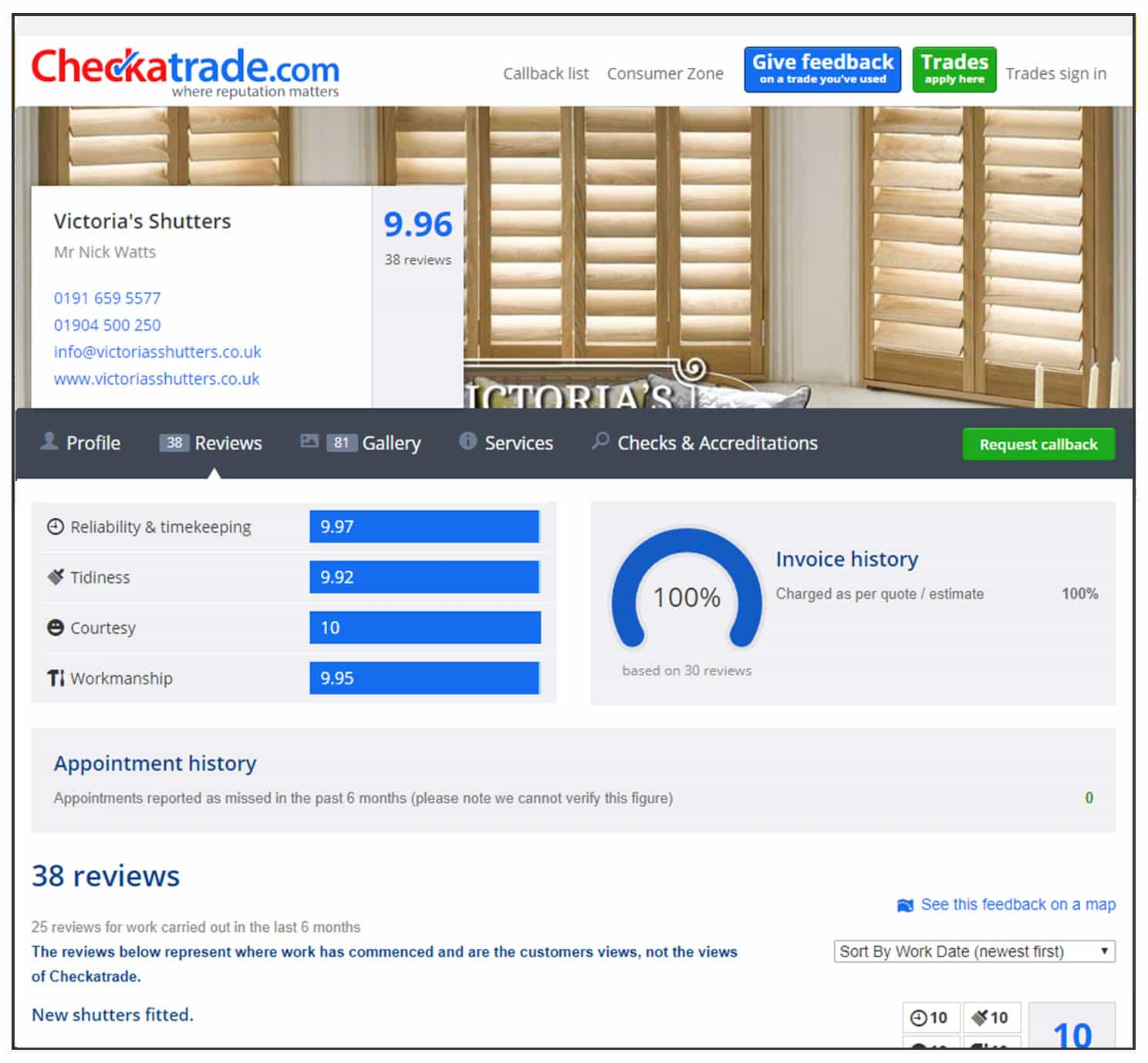 Victorias Shutters review page on Checkatrade website with the best shutter companies