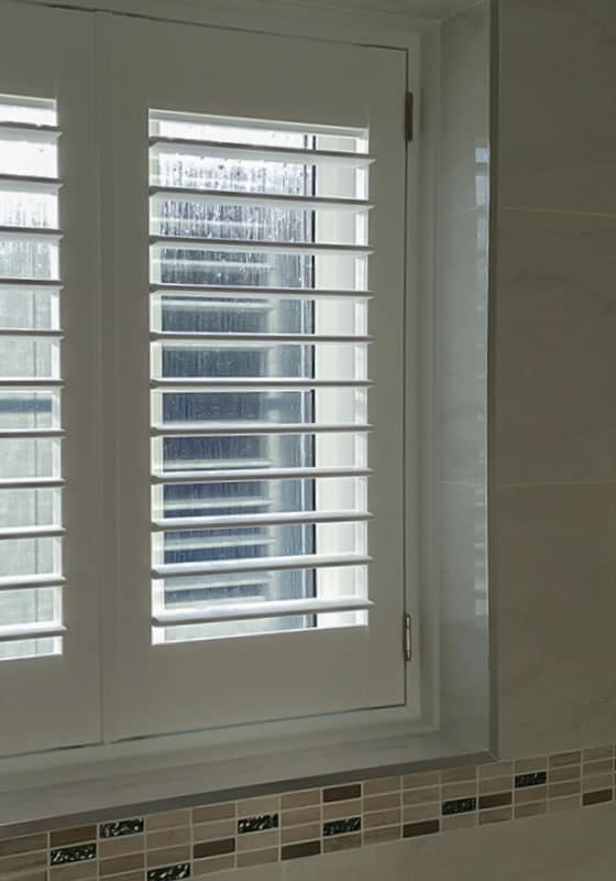 white small window shutter Jarrow taken in customer bathroom