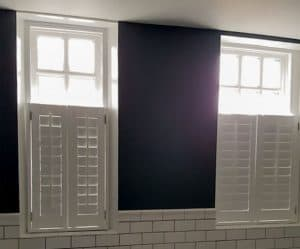 bathroom shutters made in Cafe style window design