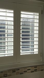 water-proof bathroom shutters in white colour