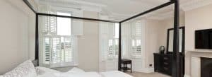 bedroom plantation shutters in white colour in Leeds