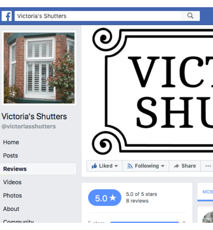 All window treatments reviews for the best shutter company on Victorias Shutters Facebook page