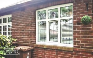 Building facade with plantation shutters installed on the windows in Newcastle upon Tyne