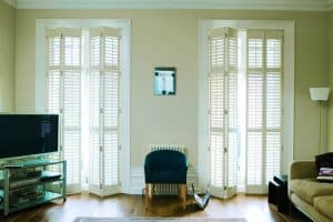 Living room with plantation shutters in Newcastle upon Tyne