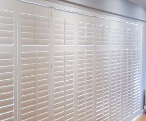 white large closed bi fold sliding plantation shutters Durham