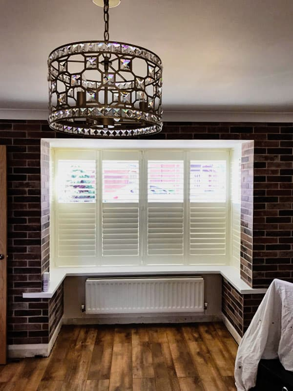 bi-fold plantation shutters, view indoors