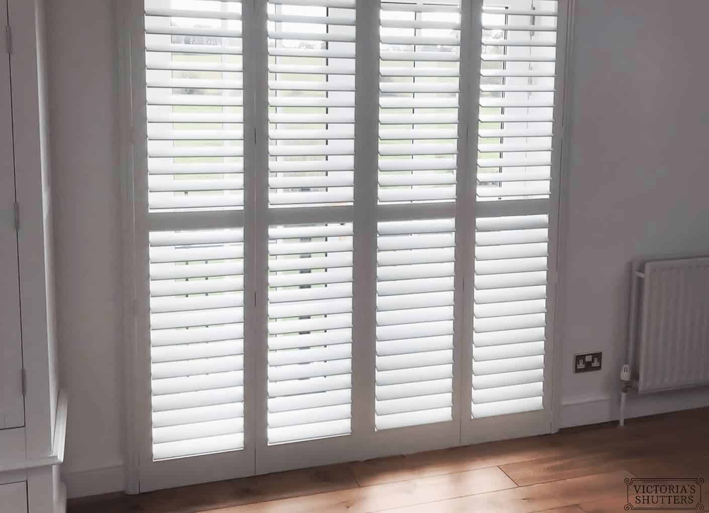 hardwood shutters for double doors and windows