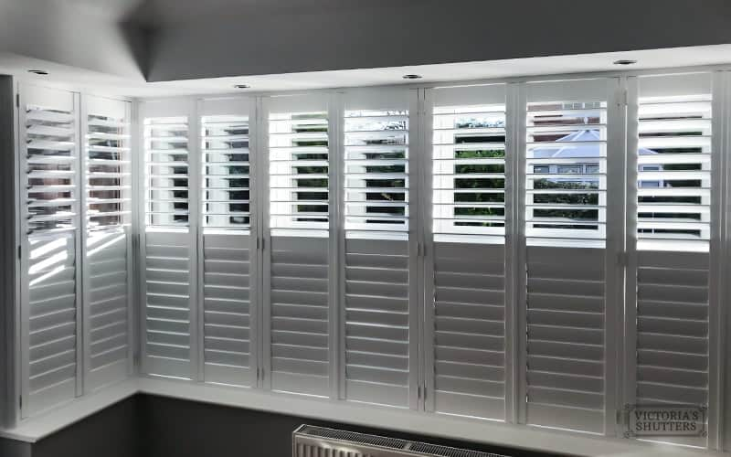 Conservatory plantation shutters, interior view