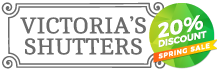 Victoria's shutters plantation window shutters logo