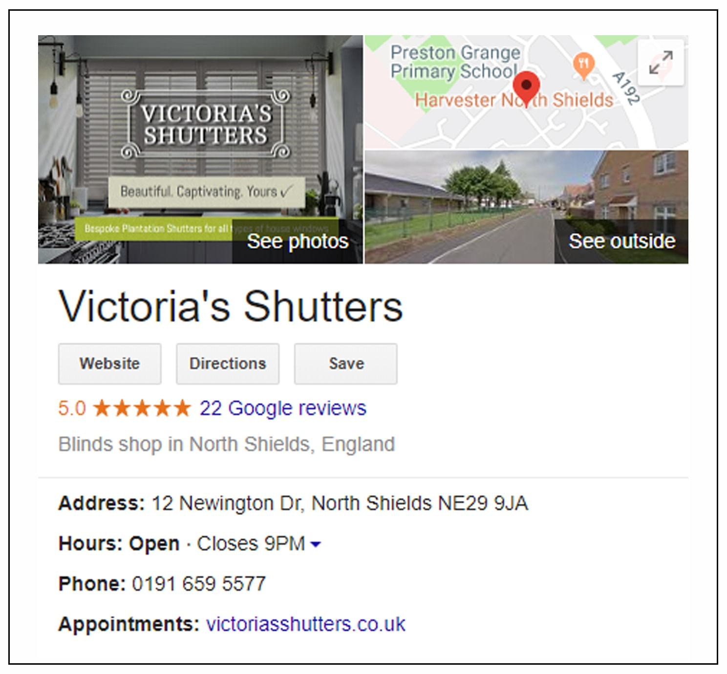 The best Shutter company reviews and testimonials on Google My Business page for Victorias Shutters