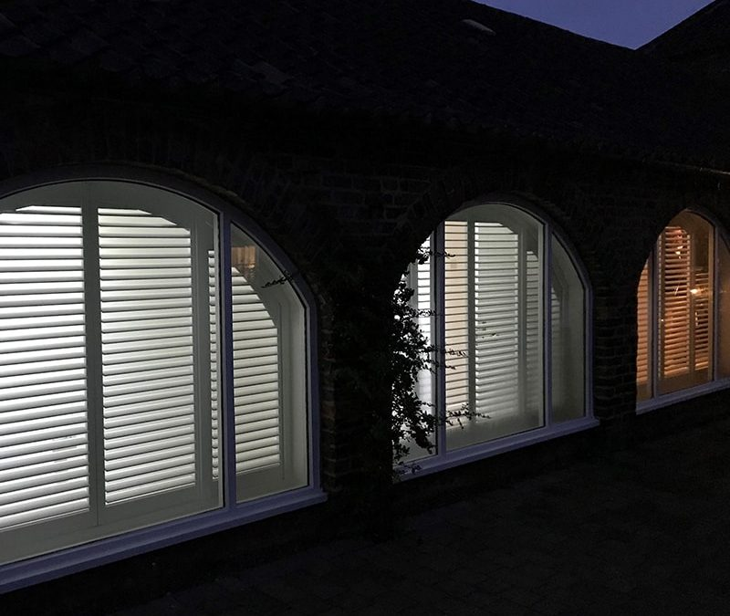 Recent Jobs: Fantastic large Arched Plantation Shutters for total privacy